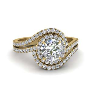 bypass halo diamond engagement ring in FDENS3258ROR NL YG