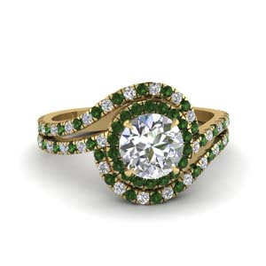 Emerald Double Halo Engagement Ring