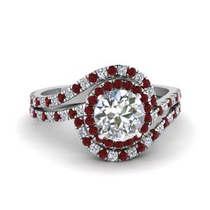 bypass halo diamond engagement ring with ruby in FDENS3258RORGRUDR NL WG
