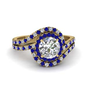 bypass halo diamond engagement ring with sapphire in FDENS3258RORGSABL NL YG