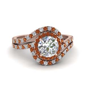 bypass halo diamond engagement ring with orange sapphire in FDENS3258RORGSAOR NL RG