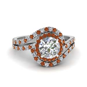 bypass halo diamond engagement ring with orange sapphire in FDENS3258RORGSAOR NL WG
