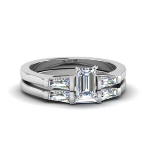 baguette with emerald cut 3 stone wedding set in FDENS100EM NL WG