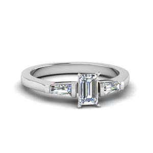 3 Stone Emerald Cut Rings