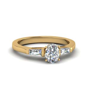 18K Yellow Gold Classic Bar Set Ring