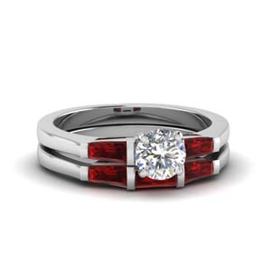 Baguette Ruby Wedding Set