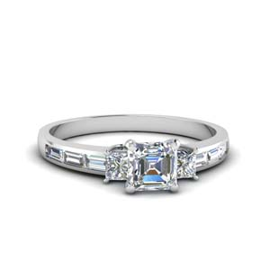 Asscher Cut 3 Stone Ring 1.50 Ct.