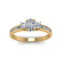 cushion cut diamond channel baguette and princess accent stone engagement ring in FDENS1021CURANGLE5 NL YG