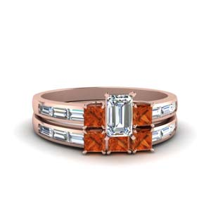 Emerald Cut Baguette Ring Set