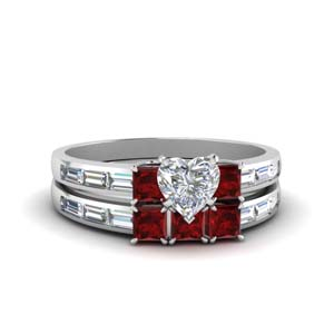 Ruby Baguette 3 Stone Bridal Set