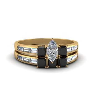 Baguette Black Diamond Wedding Set