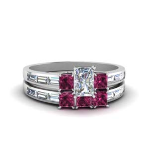 Radiant Cut Channel Wedding Set