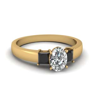 1 carat oval 3 stone engagement ring with black diamond in FDENS1024OVRGBLACK NL YG