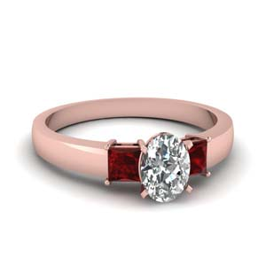1 carat diamond oval 3 stone engagement ring with ruby in FDENS1024OVRGRUDR NL RG