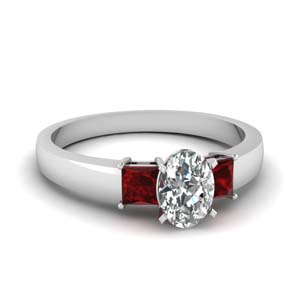 1 carat diamond oval 3 stone engagement ring with ruby in FDENS1024OVRGRUDR NL WG