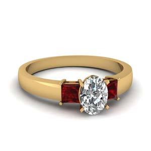1 carat diamond oval 3 stone engagement ring with ruby in FDENS1024OVRGRUDR NL YG