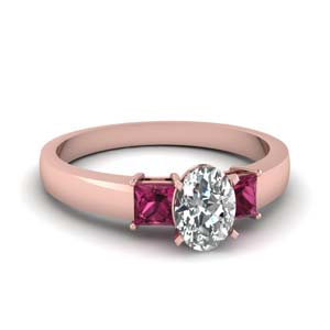 1 carat diamond oval 3 stone engagement ring with pink sapphire in FDENS1024OVRGSADRPI NL RG