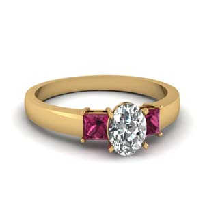 1 carat diamond oval 3 stone engagement ring with pink sapphire in FDENS1024OVRGSADRPI NL YG