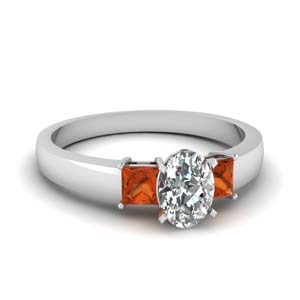 1 carat diamond oval 3 stone engagement ring with orange sapphire in FDENS1024OVRGSAOR NL WG