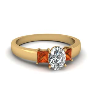 1 carat diamond oval 3 stone engagement ring with orange sapphire in FDENS1024OVRGSAOR NL YG