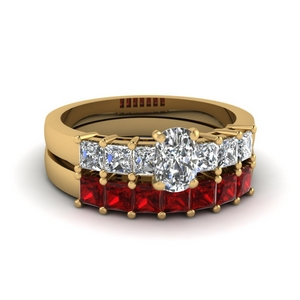 Cushion Cut Bridal Set With Ruby