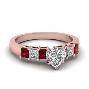 7 Stone Diamond Ring With Ruby