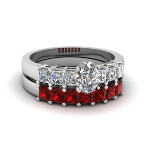 White Gold Ruby Wedding Set