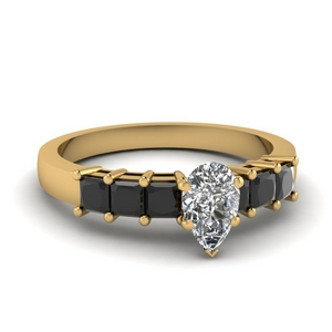Pear Shaped Black Diamond Ring