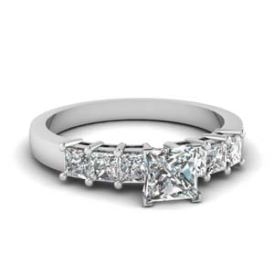 7 Stone Princess Cut Diamond Ring