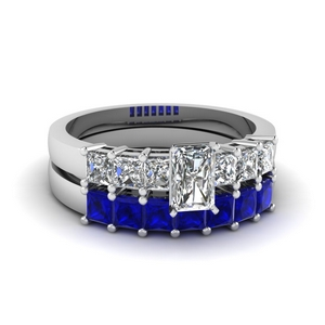 7 Stone Ring With Sapphire Band