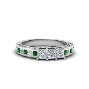 princess cut diamond wedding band for her with emerald in 14K white gold FDENS1096BGEMGR NL WG
