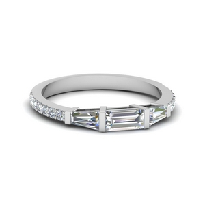 Baguette And Round Diamond Thin Band