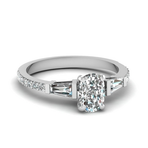 3 stone baguette cushion diamond engagement ring in FDENS1099CUR NL WG