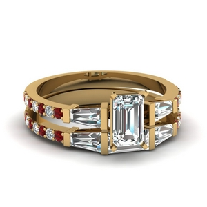 3 stone baguette emerald cut diamond wedding set with ruby in FDENS1099EMGRUDR NL YG