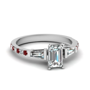 3 stone baguette emerald cut diamond engagement ring with ruby in FDENS1099EMRGRUDR NL WG