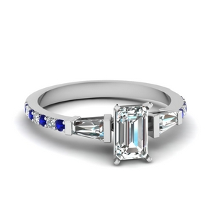 3 stone baguette emerald cut diamond engagement ring with sapphire in FDENS1099EMRGSABL NL WG