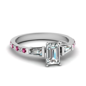 3 stone baguette emerald cut diamond engagement ring with pink sapphire in FDENS1099EMRGSADRPI NL WG