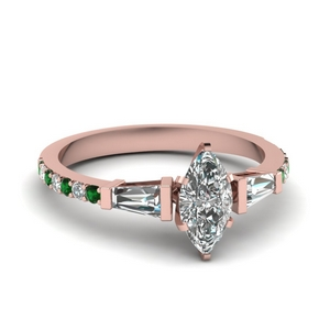 3 stone baguette marquise diamond engagement ring with emerald in FDENS1099MQRGEMGR NL RG