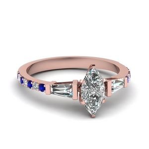 3 stone baguette marquise diamond engagement ring with sapphire in FDENS1099MQRGSABL NL RG