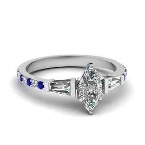 3 stone baguette marquise diamond engagement ring with sapphire in FDENS1099MQRGSABL NL WG
