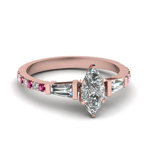 3 stone baguette marquise diamond engagement ring with pink sapphire in FDENS1099MQRGSADRPI NL RG