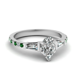 3 stone baguette pear diamond engagement ring with emerald in FDENS1099PERGEMGR NL WG