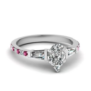 3 stone baguette pear diamond engagement ring with pink sapphire in FDENS1099PERGSADRPI NL WG