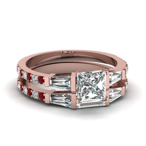 3 stone baguette princess cut diamond wedding set with ruby in FDENS1099PRGRUDR NL RG