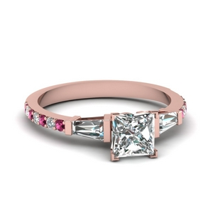 3 stone baguette princess cut diamond engagement ring with pink sapphire in FDENS1099PRRGSADRPI NL RG