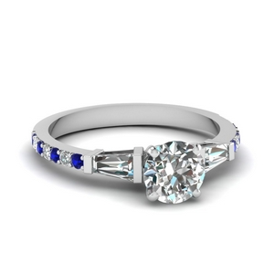 3 stone baguette round diamond engagement ring with sapphire in FDENS1099RORGSABL NL WG