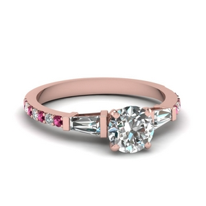 3 stone baguette round diamond engagement ring with pink sapphire in FDENS1099RORGSADRPI NL RG