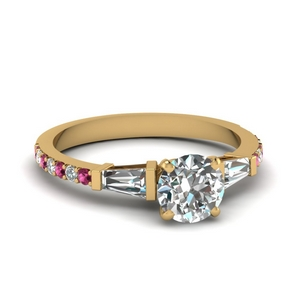 3 stone baguette round diamond engagement ring with pink sapphire in FDENS1099RORGSADRPI NL YG