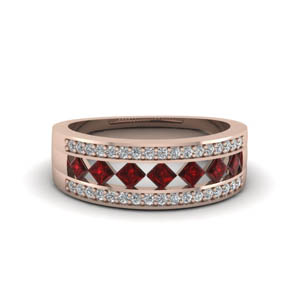wide kite set diamond wedding band with ruby in FDENS1149BGRUDR NL RG