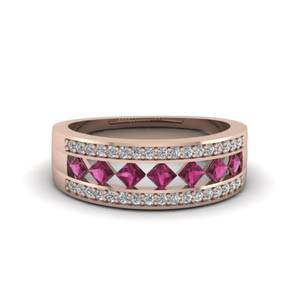 wide kite set diamond wedding band with pink sapphire in FDENS1149BGSADRPI NL RG